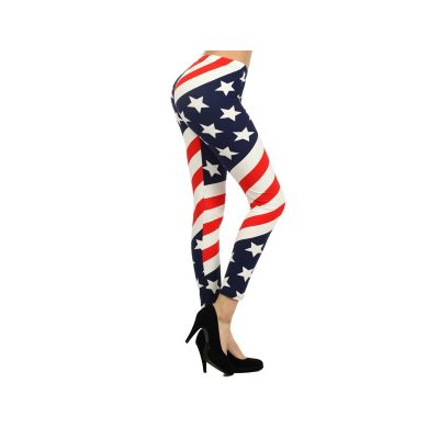 Costume Polyester American Flag Printed Leggings