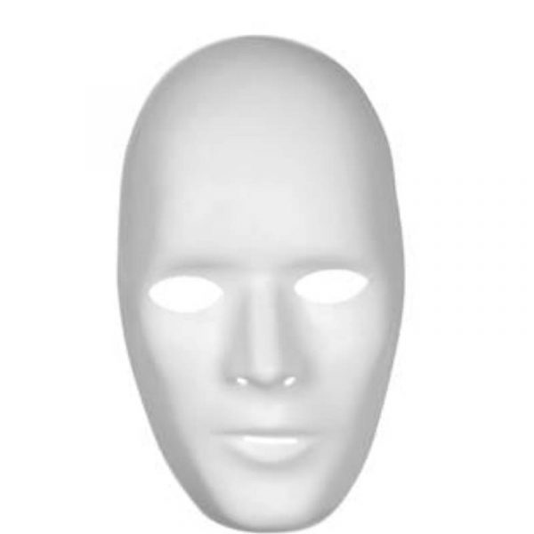 Male White Plastic Promo Full Face Mask for Painting