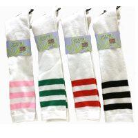 White Acrylic Knee High Socks with Stripes