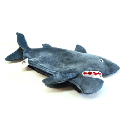 Plush Fabric Shark Hat Dark Gray w Wiggle Eyes