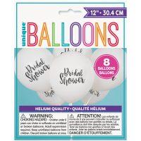 Printed Round Bridal Shower Latex Balloons - Script