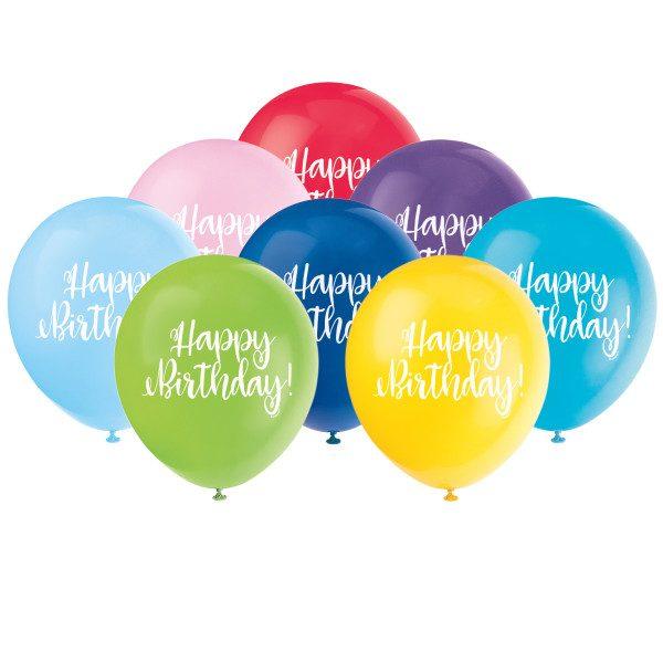 Happy Birthday Script Helium Latex Balloon