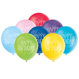 Happy Birthday Confetti Helium Latex Balloon