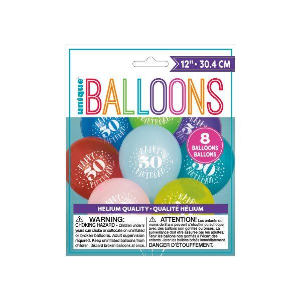 Happy Birthday 50 Helium Latex Balloon