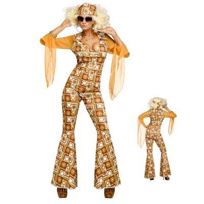 Disco Diva Jumpsuit Head Scarf 1970s Costume