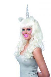Mystic Unicorn White Wig w Tinsel n Silver Horn