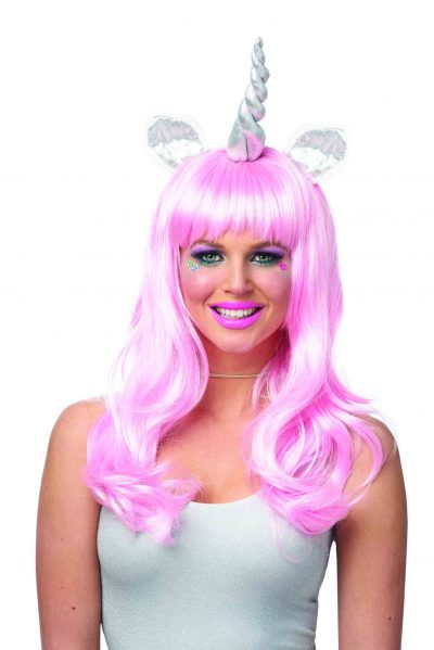 Magical Light Pink Unicorn Wig Silver Horn & Ears