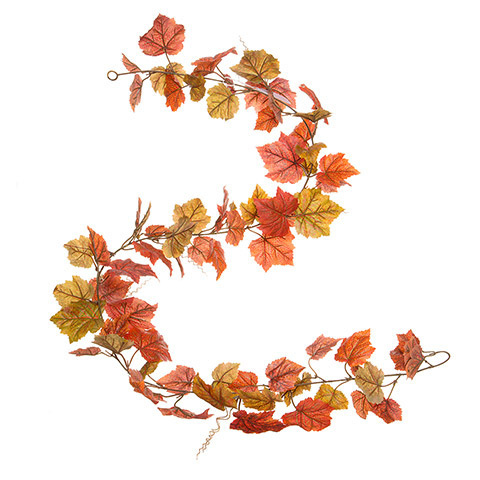 6 Ft Long Silk Shaded Grape Leaf Fall Garland