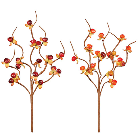 Fall Bitter Berry Pick Brown Paper-Wrapped Wire Pick