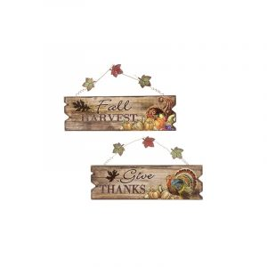 4 Inch by 14 Inch Hanging Fall Harvest Give Thanks Sign