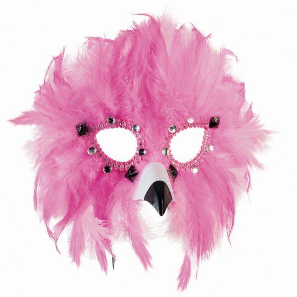 Costume Feathers Rhinestones Flamingo Face Mask