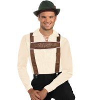 Costume Brown Fabric Lederhosen Suspenders