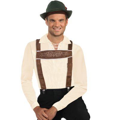 Costume Brown Fabric Lederhosen Suspenders
