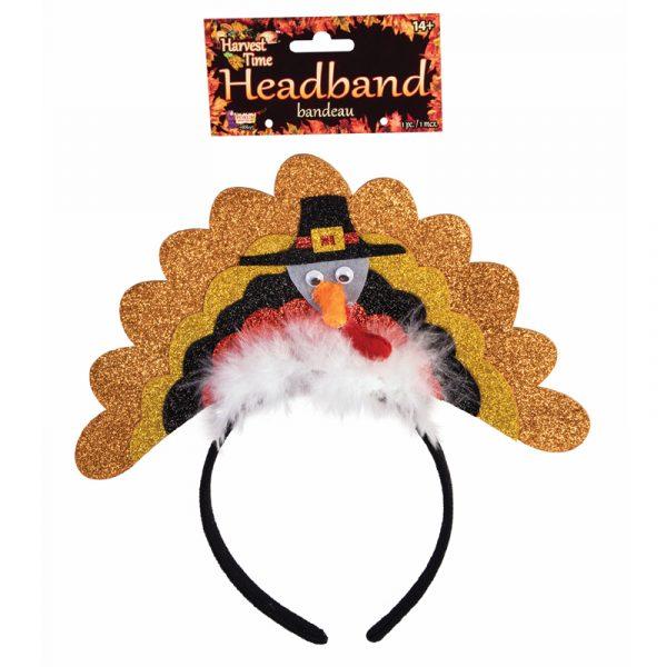 Sparkle Fabric Turkey w Pilgrim Hat Headband