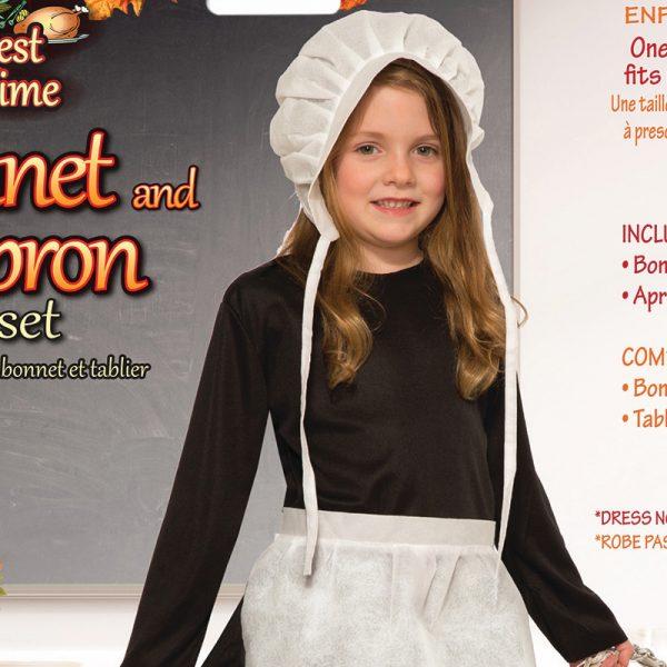 Costume Childs White Paper Bonnet n Apron Set
