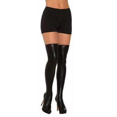 Costume Black Liquid Leather Look Knee Highs