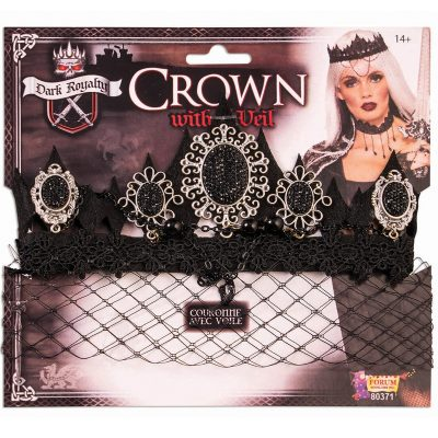 Dark Royalty Sparkle Crown Attached Black Veil