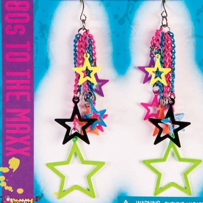 Costume 80s Multi-Star Drop Earrings Pair