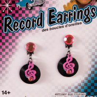 Costume 50s Record Clip-on Earrings Pair