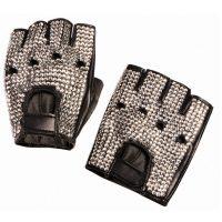 Costume Biker Rhinestone Gloves - 1 Pair Fingerless