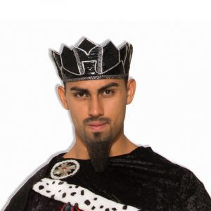 Black Fabric Dark Royalty King Crown Silver Trim