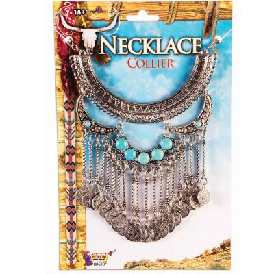 Costume Western Coin Drop Necklace Silver Turquoise