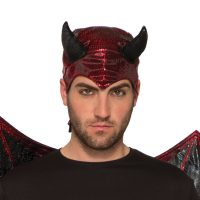 Costume Printed Metallic Fabric Devil Hood Red Black