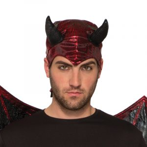 Costume Printed Metallic Fabric Devil Hood Red Black