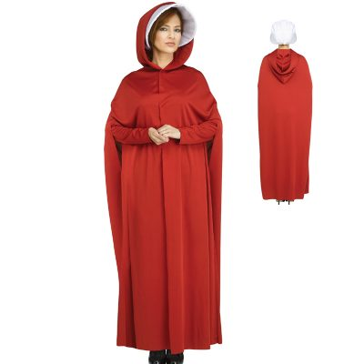 The Maiden Red Hooded Robe White Bonnet