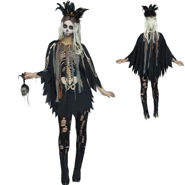 Voodoo Poncho w Skeleton Print Standard Size