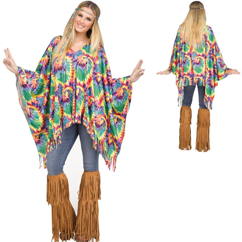 Buy Hippie Poncho W Tye Dye Print Standard Size Cappel S