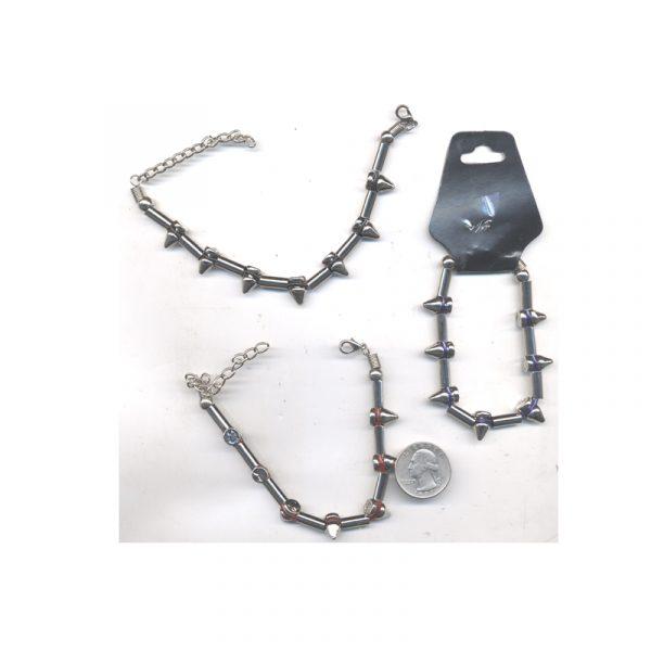 Costume Studded Tube Bead Bracelet Metal Clasp