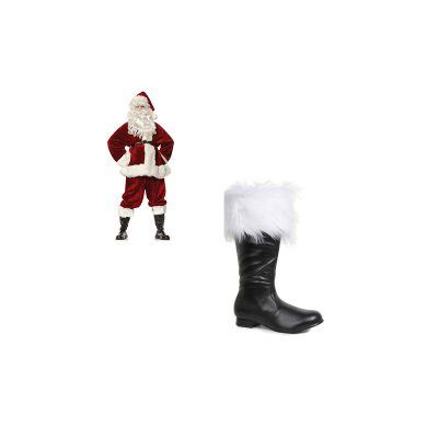 Black Santa Boots White Fur Trim