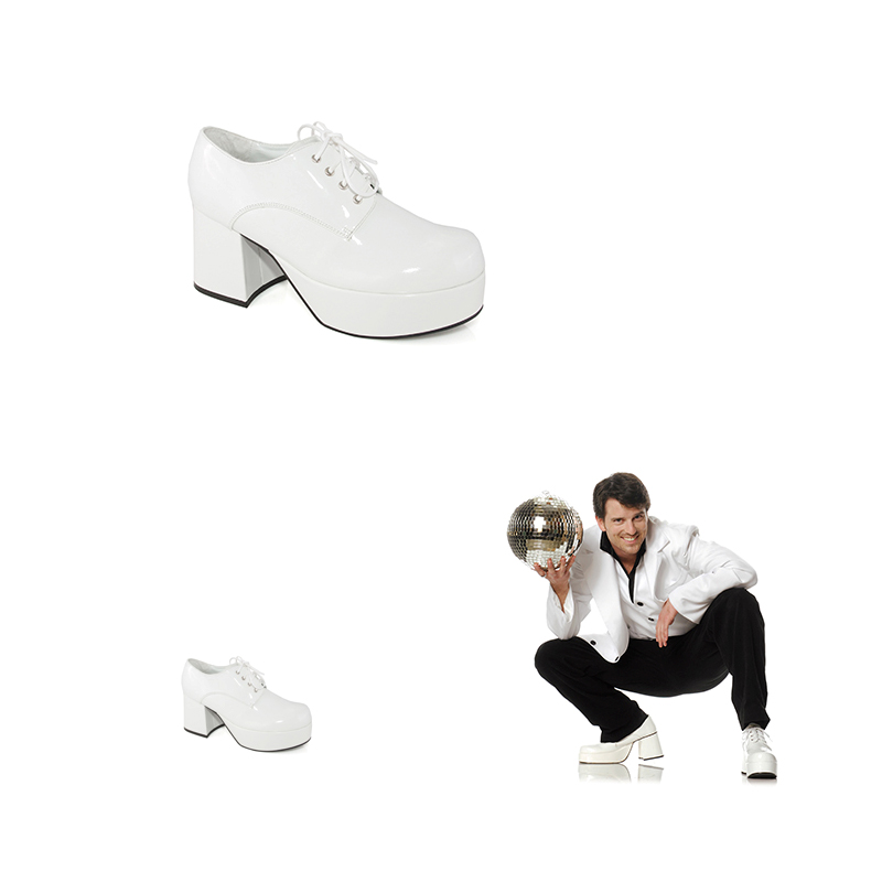 1970s Mens White Disco Platform Shoes