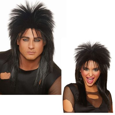 Rocker Black 1970s Rock Band Wig Unisex