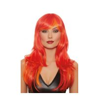 Straight Layered Flame Red Long Wig