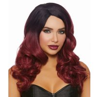 Wavy Ombre Layered Long Burgundy Black Wig