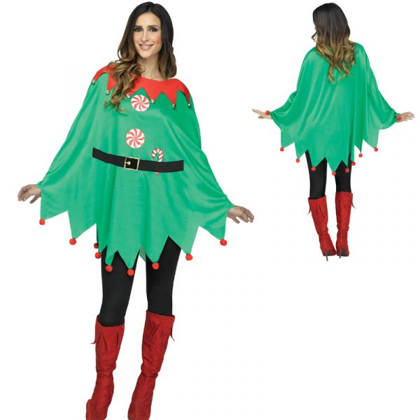 Green Elf Poncho Red Accents Black Belt