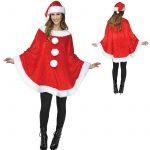Red Plush Santa Poncho n Hat White Plush Trim