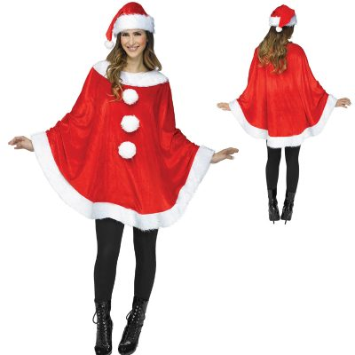 Red Plush Santa Poncho n Hat White Plush Trim