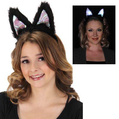 Costume Light Up Plush Cat Ears Headband