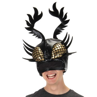 Black Shiny Fabric Insect Hat Mask - DominAnt Insectoid HatsEye