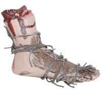 11 Inch Plastic Bloody Foot w Barbed Wire