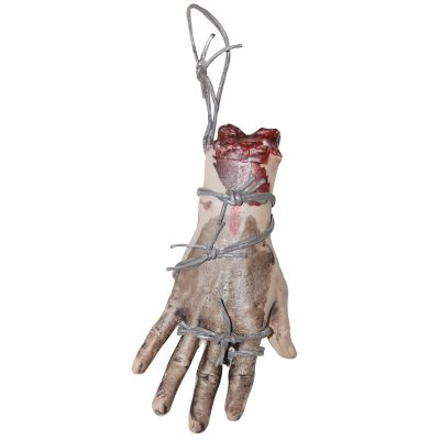 8 Inch Plastic Bloody Hand w Barbed Wire