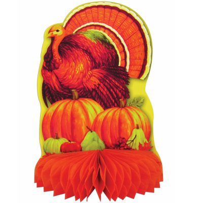 Tissue Turkey w Pumpkins Centerpiece