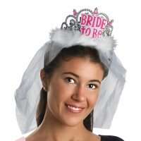 Bachelorette Bride to Be Plastic Tiara w Veil