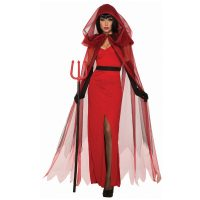 Crimson Demoness Red Dress w Sheer Hooded Cape
