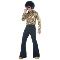 Disco King 1970s Costume Gold Shirt Black Pants