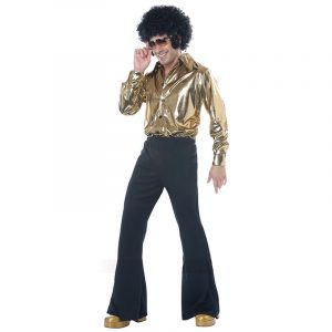 Disco King 1970s Costume Gold Shirt Black Pants