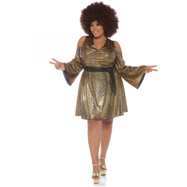Disco Doll Gold Plus Size Bare Shoulder Dress